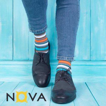 جوراب مردانه ساقدار نووا طرح ترکیبی آبی
