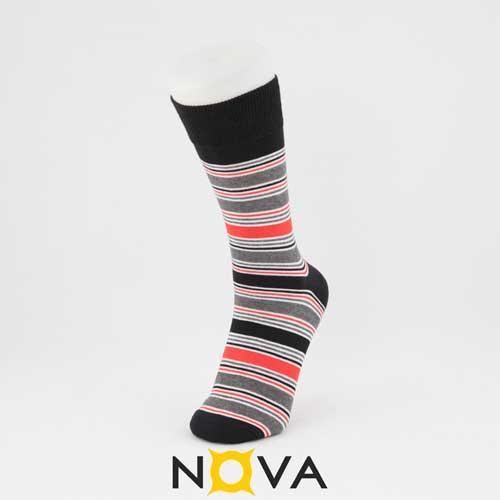 جوراب مردانه ساقدار نووا طرح ترکیبی مشکی