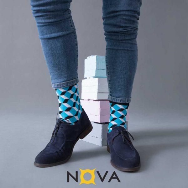 جوراب مردانه نووا طرح مکعب